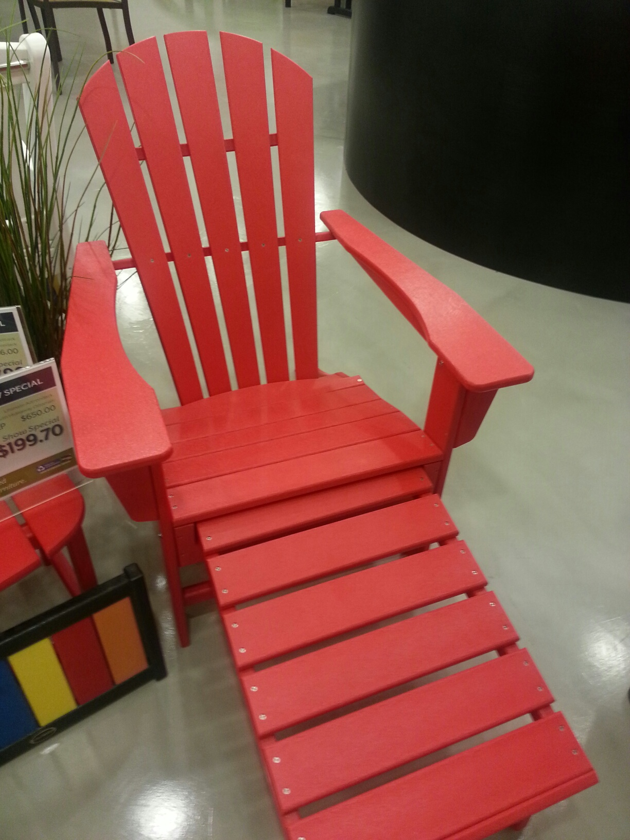 This highly durable product is made from recycled milk jug lumber and is available in 8 colors. POLYWOOD® solid dimensional plastic lumber is made from HDPE ... & SALE on POLYWOOD Adirondack Chair with Ottoman - Bay Breeze Patio