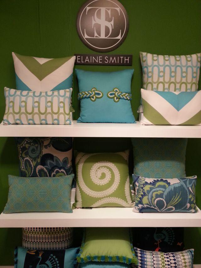 Elaine Smith Pillows Turquoise